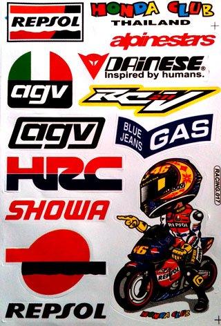 Repsol Hrc Honda Motorcycles Dirt Bike Atv Helmet Racing Decal Sticker Sheet