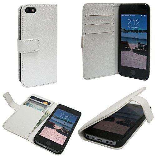 Mylife (Tm) Splashed White - Classic Design - Textured Koskin Faux Leather (Card And Id Holder + Magnetic Detachable Closing) Slim Wallet For Iphone 5/5S (5G) 5Th Generation Itouch Smartphone By Apple (External Rugged Synthetic Leather With Magnetic Clip