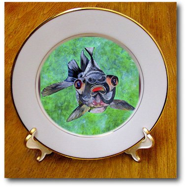 Cp_48473_1 Taiche - Acrylic Painting - Blackmoor Goldfish - Blackmoor Goldfish- Blackmoor Goldfish, Telescope Goldfish, Goldfish, Dragon Eye Goldfish - Plates - 8 Inch Porcelain Plate