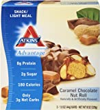 Atkins Advantage Caramel Chocolate Nut Roll Light Meal Bar, 5 Count Bars 1.6 Oz.