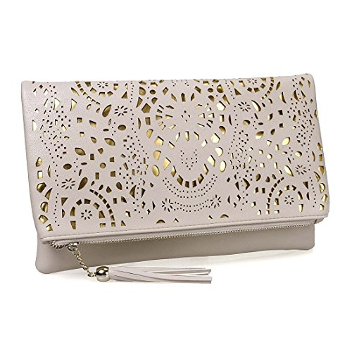 BMC Womens Creamy Beige Perforated Cut Out Pattern Gold Accent Background Foldover Pouch Fashion Clutch Handbag (Cream Clutch compare prices)