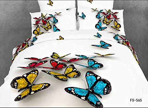 Queen Size 100% Cotton 4-Pieces 3D Blue Yellow Red Butterflies White Prints Duvet Cover Set/Bed Linens/Bed Sheet Sets/Bedclothes/Bedding Sets/Bed Sets/Bed Covers/5-Pieces Comforter Sets (5) front-1009269