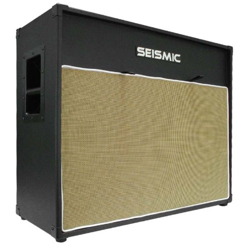 """Seismic Audio - 212 Guitar Speaker Cab Empty - 7 Ply Birch - 12"""" Speakerless Cabinet - Vintage 2X12 - Black Tolex - Wheat Cloth Grill - Front Or Rear Loading Options"""