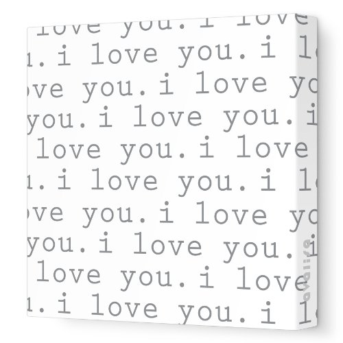 "Avalisa Stretched Canvas Nursery Wall Art, I Love You, Gray, 18"" x 18"""