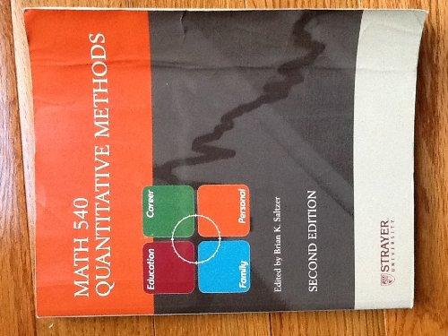 Math 540 Quantitative Methods for Strayer University