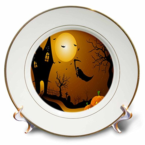 3dRose cp_152289_1 Halloween House with Pumpkins, Skulls, and Bats and The Grim Reaper-Porcelain Plate, 8-Inch