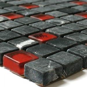 glas marmor mosaik fliesen 15x15x8mm schwarz rot amazon. Black Bedroom Furniture Sets. Home Design Ideas