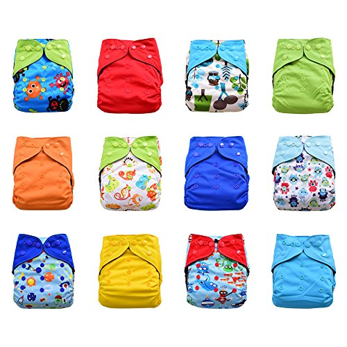 One Size Reusable Charcoal Bamboo Cloth Pocket Diapers, 12-pack Bundle Set + 24 Inserts (Boy) (Lil Joeys Aplix compare prices)