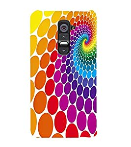 MULTICOLOURED CIRCULAR ELIPTICAL PATTERN 3D Hard Polycarbonate Designer Back Case Cover for LG G2 :: LG G2 D800 D980
