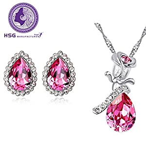 HSG Mode Mädchen rot Kristall Rose Crystal Jewelry Set Jewelry Earrings & Necklace Christmas Gift