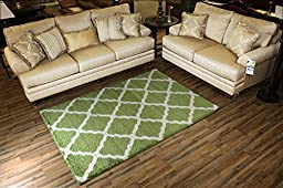 SOHO Shaggy Collection Trellis Lattice Design Shag Area Rug Rugs 3 Color Options (Green, 5 x 7)