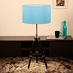Cocovey Sheesham Wood Blue Silk Cotton Shade Floor Tripod Lamp