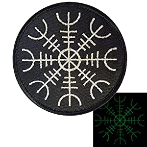 Glow Dark Aegishjalmr Viking Helm of Awe Terror Protection Rune Morale Tactical Velcro Écusson Patch