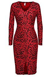 ANGVNS Womens Long Sleeves Printed Bodycon Long Stretchy Midi Dress