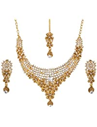Apara Shimmering Gold Plated Austrian Diamond And LCT Stone Studded Necklace Set With Maang Tikka