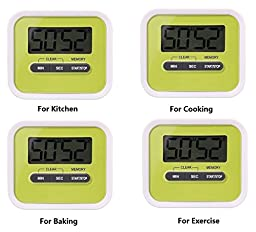 Tooge Digital Kitchen Timer Lound Minute/Second Timer Countup Countdown Timer with Large Screen Magnet and Retractable Stand for Cooking Baking Exercise (4 PCS)