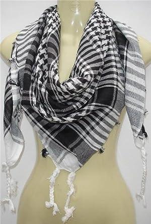 Unisex Chequered Arab Arafat Shemagh Kafiyah Desert Style Scarf Throw - Black / White
