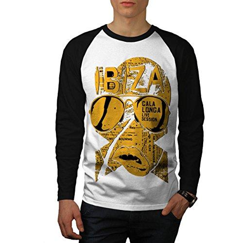 Ibiza Live Sessions Music Beats Men NEW White (Black Sleeves) M Baseball LS T-shirt | Wellcoda (Bbq Island Umbrella Sleeve compare prices)