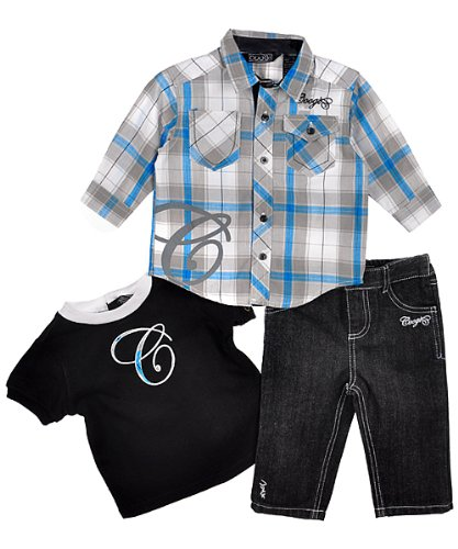 """Coogi Boys """"The Big C"""" 3-Piece Outfit (Sizes 0M - 9M) - coal, 3 - 6 months"""
