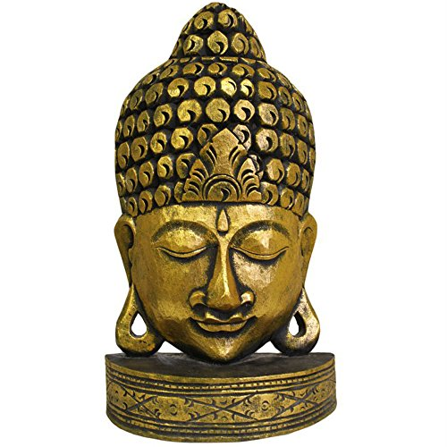 Albesia bois sculpté à la main taille moyenne avec un Masque de bouddha Doré
