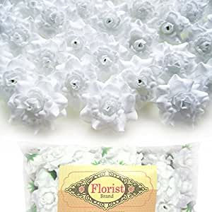 "(100) Silk White Roses Flower Head - 1.75"" - Artificial Flowers Heads Fabric Floral Supplies Wholesale Lot for Wedding Flowers Accessories Make Bridal Hair Clips Headbands Dress"