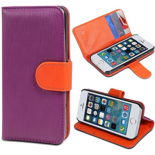 iPhone SE Case, GreatShield LOLLY Series Leather Wallet Case with Stand for Apple iPhone SE (Purple & Orange)
