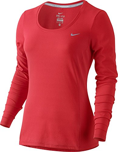 Nike Womens Dri-FIT? Contour Long Sleeve Light Crimson/Reflective Silver T-S...