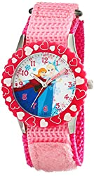 Disney Kids' W001935 Elsa And Anna Time Teacher Stainless Steel Watch With Pink Nylon Band
