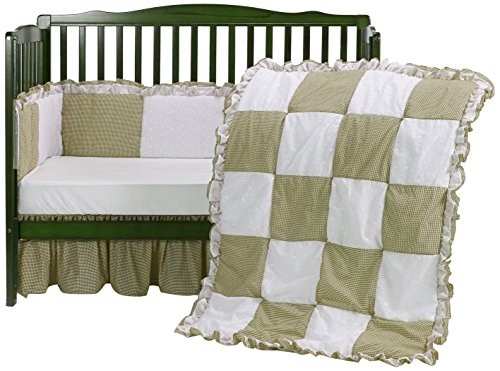 Baby Doll Gingaham/Eyelet Patchwork Crib Bedding Set, Beige, 4 Piece