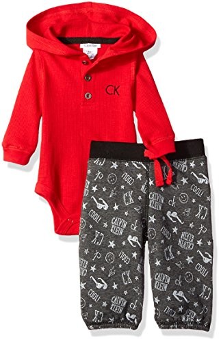Calvin Klein Baby Boys' Hooded Bodysuit with Printed Pants Set, Red, 6-9 Months