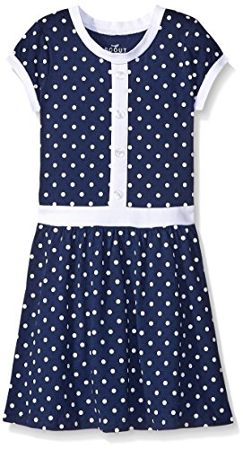 Scout + Ro Girls' Printed Polka Dot Dress, Flag Blue, 7