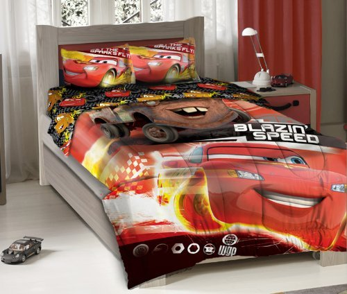 Find Discount Disney Pixar Cars Blazing Speeding Duo Bedding Comforter Set with Fitted Sheet - Twin ...