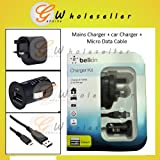 Belkin Charger Kit : USB Car Charger + UK Mains Wall Charger Power Adaptor + Micro High Power USB Data Cable Sync & Charge Compatible With : Kindle PaperWhite Kindle Keyboard Kindle Kindle Wi-Fi 6' E Ink Display