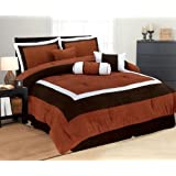High Quality Soft Micro Suede Comforter Set Bedding-in-a-bag, Rust - Queen
