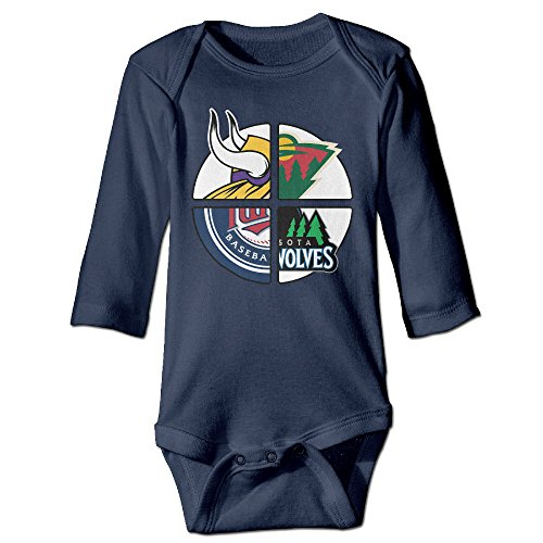 NORAL Babys Boy's & Girl's Minnesota Sports Logo Mixed Long Sleeve Jumpsuit Outfits Navy Size 24 Months (Viking Stick Blender compare prices)