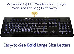 Ivation Wireless Letter Illuminated Large Print Full Size Multimedia Computer Keyboard - Advanced 2.4 GHz Wireless Technology Works Up To 33 Feet Away - Gentle, Crisp & Clear Blue LED Lights Illuminate Each Key with Adjustable Brightness