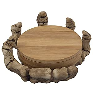 Scary Skeleton Hand Bamboo Drink Coaster Set with Figurine Display Stand for Spooky Halloween Decorations & Medieval Bar Accessories or Kitchen Decor Table Centerpieces As Gothic Gifts