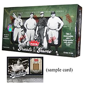 2006 Upper Deck Fleer Greats of the Game Baseball Cards Unopened Hobby Box (15 packs/box,   5 cards/pack, 1 insert per pack, 2 memorabilia & 2 autographs per box)