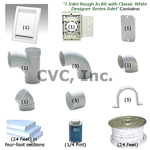 Central Vacuum Installation 1 Inlet Rough In Kit with Classic Designer Series Inlet, Color-White (Central Vacuum Rough In compare prices)