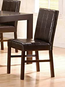 Set of 2 Contemporary Bycast Leather Parson Dining Chairs