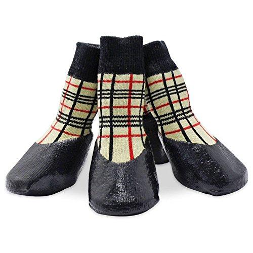 Artikelbild: Semoss 4 Set Klassisch Baumwolle and Gummi Haustier Schuhe Anti-Rutsch Hunde Schuhe Pfotenschutz Boots Hunde Socken Hunde Stiefel für Pfoten und Hunde,Größe:XXL,8.0 x 6.6 cm (L x B)