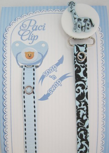 Blue Giraffe Ribbon Pacifier Clip