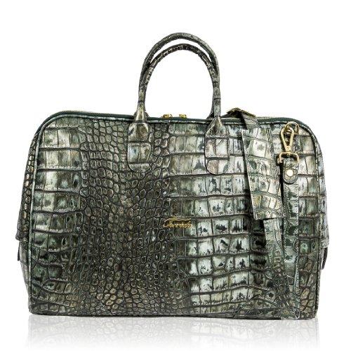Terrida Italian Designer Golden Green Alligator Leather Briefcase Bag
