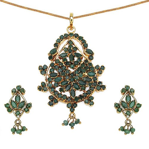 13.70 Grams Green Cubic Zirconia Gold Plated Brass Pendant Set