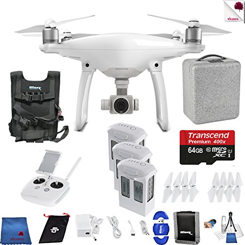 DJI Phantom 4 On The Move Bundle Includes: DJI Phantom 4 Drone + 3 Batteries (total) + Carry Vest + 64 GB Memory Card + Controller + Foam Case + More