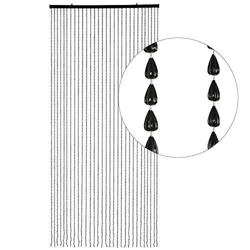 HAB & GUT (DV026) Türvorhang SCHWARZE PERLEN, 30 Stränge, 90 x 200 cm