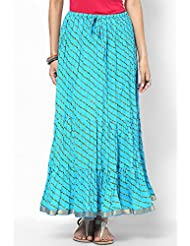 Soundarya Women Cotton Skirts -Blue -Free Size - B00MPTZELY