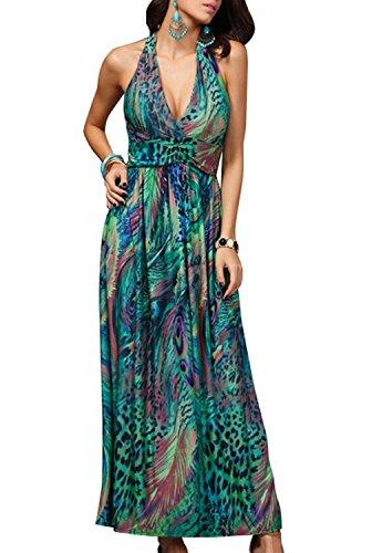 Deargirl Women's Halter Summer Tropical Peacocks Flower Printed Summer Maxi Dress (One Size, Green)