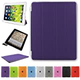 Besdata Ultra Thin Magnetic Smart Cover & Back Case For Apple iPad 2 / iPad 3 / iPad 4 - Purple - PT2605
