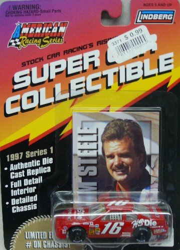 Lindberg - American Racing Series - Super Car Collectible - ARCA - 1997 Seies 1 - Tim Steele - No. 16 HS Die Ford Thunderbird - 1:64 Die Cast Replica Card and Collector Card